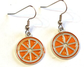 Orange Citrus Fruit Enamel Charm Metal Earrings
