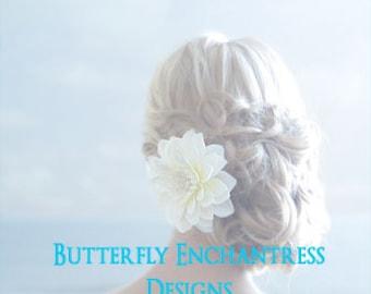 Ivory Mirielle Dahlia Bridal Hair Flower Clip with Vintage-inspired Rhinestone
