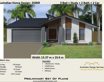 250 m2 | 3 Bedroom |  3 Bed + Study + 2 Car Modern Design  Concept House Plans For Sale
