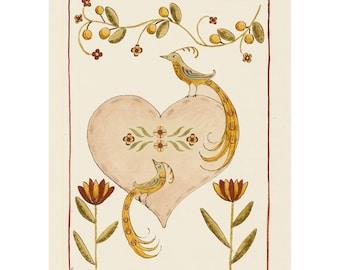 "Folk art frameable greeting card print ""Paradiso"""