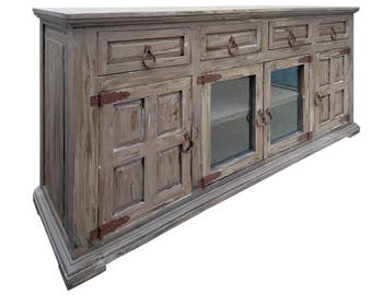 72 inch Hi End Rustic TV Stand 4 Doors 4 Drawers Western Solid Wood Gray Distressed Rough Cut Finish Ships Already Assembled