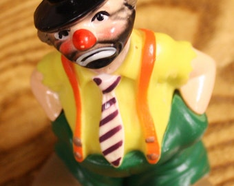 Vintage 1977 Wilton Hobo Clown Hard Plastic Cake Topper Hong Kong #1316
