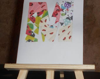 Original card in iris folding with multi-colored ladybugs