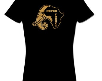 Never Forget Africa T shirt Elephant Tee African T shirt tops and tees t-shirts t shirts  Free Shipping