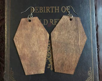 Coffin Earrings, wood coffin, coffin, halloween earrings