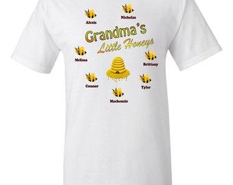 Grandma Shirt, Grandma's Little Honey's Shirt, Custom Made Grandma Shirt, Custom Grandma Shirt, Grandma Birthday, Grandma Shirt Kids Names
