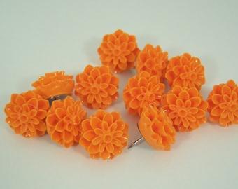 12 Orange Flower Push Pins or Magnets