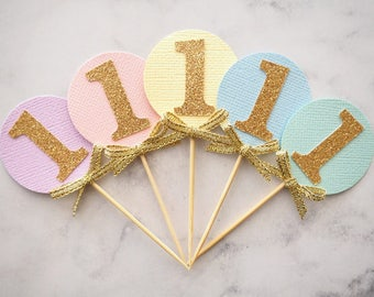 First birthday cupcake toppers | Pastel rainbow gold glitter one toppers | 1st birthday | Girls first birthday | 1 cupcake toppers