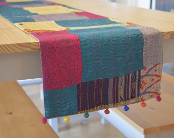 Bright Multi Color Vintage Sari Kantha Patchwork Table Runner , Dining and Entertaining, Kitchen and Housewares