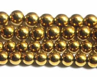 """15"""" one strand,Gold Hematite smooth round beads,6mm 8mm 10mm 12mm Gold Hematite Beads"""