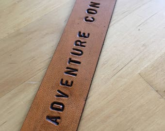 Leather Bookmark Retirement Gift Graduation Gift Divorce Gift The Adventure Continues - Love That Leather