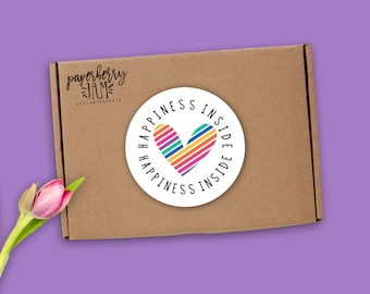 Rainbow Heart Happiness Inside Stickers / Packaging Stickers / Happy Mail / Fashion Consultant / Independent Sales Rep