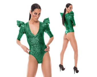 Signature Thong Bodysuit; Green Holographic, Burning Man Clothing, Poison Ivy Costume, Dancewear, Sexy Bodysuit, Brazilian Bottom,LENA QUIST