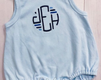 Embellished Circle Monogram Shirt, Romper or Bubble - Personalized, Embroidered, Boys Shirt