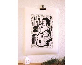Houses, original woodcut print, A3, monochrome