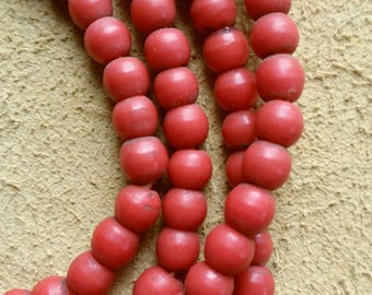 6mm Coral red Prosser African trade beads, 25 inch strand