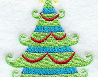 Whismy Christmas Tree 2 Embroidered Flour Sack Hand/Dish Towel
