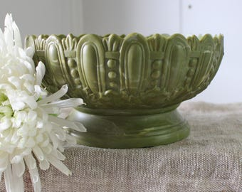 Vintage Green Marbled Planter - Art Deco - Pedestal Planter - Inarco Bowl