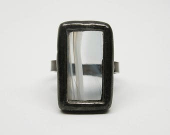 Ice Drift - Sterling Silver Stained Glass Ring - Size 7.5
