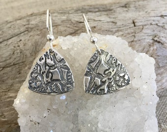 Seascape Fine Silver Earrings