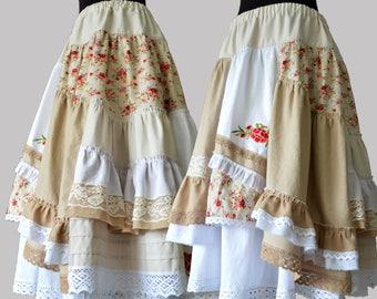 Long beige Boho flowers skirt Summer asymmetrical skirt Maxi unique skirt Bohemian skirt White linen Festival skirt Boho romantic clothes