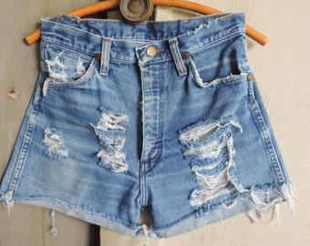 WRANGLER Denim Grunge Boy Friend Shorts Distressed Wrangler Shorts Shredded Denim Cutoff Jeans Denim Shorts