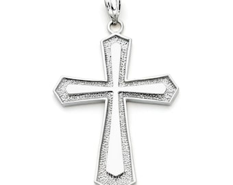 14K White Gold Cross Pendant, Cross Pendant, Cross Jewelry, Gold Cross, Religious Jewelry, Religious Pendant, Christian Jewelry