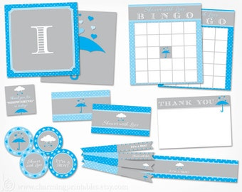 April Showers Baby Shower Decor for Boy - Printable Decorations Instant Download - Blue and Grey Gray Rain Shower with Love