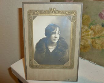 Antique Professional Studio Photo Of Young Women In Beautiful Art Nouveau Paper Frame 1920's