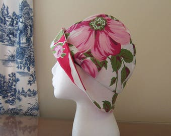 Chemo Hat Cloche Style from Upcycled Vintage Tablecloth, cotton lined with a fabric bow in Pink, Cancer Patient Gift, Ready to Ship