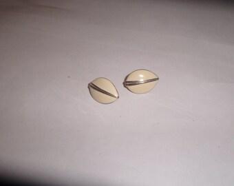 vintage clip on earrings ivory enamel