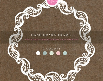 Hand drawn frame. hand drawn clipart, pen drawn clipart, 5 png files without background and vector files (Eps and Pdf) 300 dpi.