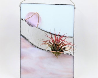 Stained glass air plant holder handcrafted by Bello Glass abstract wall art indoor gardening gift for mom bridesmaids birthdays