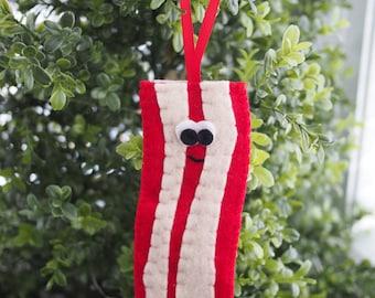 Handmade Felt Bacon Ornament