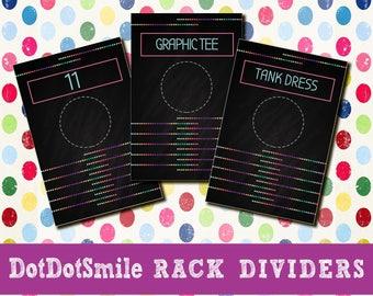 DotDotSmile Clothing Rack Dividers, Boutique Dividers DotDotSmile Rack Clothing Size Rack Clothing Dividers DDS Rack Hanging Dot Dot Smile