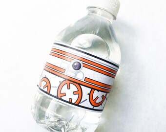 Star Battles. Droid Water Bottle Labels. DIGITAL DOWNLOAD. DiY Printable Design. Pinkadot Shop