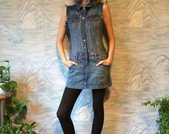 Vintage Denim Dress Jeans Sarafan Dress Sleevles Mini Dress  Blue Jumper Dress Size Medium