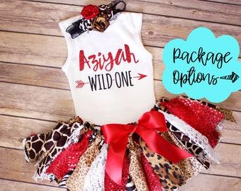 Wild One Red Animal Print Birthday Outfit // Optional Fabric Tutu Top Headband Banner // Safari Jungle // Animal Print // Baby Toddler Girl