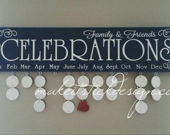 Family Birthday Board, Celebrations Board, Birthday Calendar, Family Celebrations, Navy and White Wall Hanging