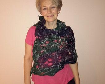 Felted women scarf wearable art merino wool handmade scarf