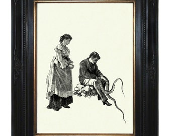 Steampunk Art Print Victorian Couple with Tentacle Arms IV Octopus Kraken Art Print Lady Gentleman Steampunk Valentine's Day