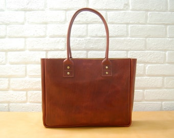 Cognac New York Tote - Handstitched Leather Tote bag