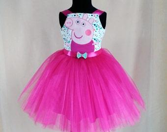 Soft Pink Peppa Pig Birthday Dress, Peppa Pig Tutu Dress, Peppa Pig Party Dress, Peppa Dress
