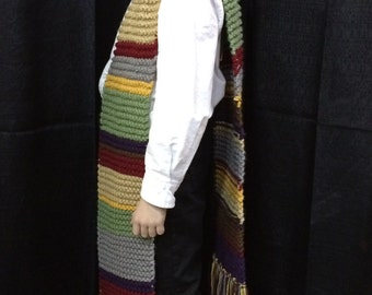 Doctor Who Inspired Hand Knit Scarf - Reduced Size