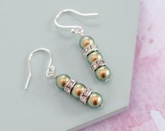 Green Drop Earrings, Green Pearl Earrings, Green Bridesmaid Earrings, Green Pearl Jewellery, Green Bridesmaid, Iridescent Green Pearls