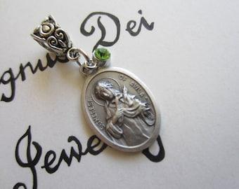 St Teresa of Avila Medal & Lt Green Charm Pendant, Vintage Style Medal, Patron Saint for Headaches, Catholic Religious Gift