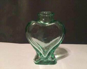 Vintage Green Heart Shaped Glass Bottle Decanter