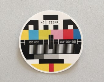 No Signal Television Laptop Sticker, Old TV Signal Sticker, Hipster Sticker Gift, Vintage Lover Gift