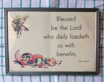 Framed Lithograph with Bible verse
