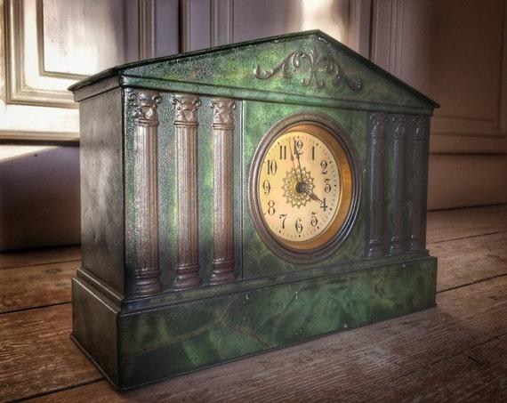Early 20th century erzatz green onyx empire style clock